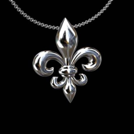 Fleur De Lis Solid 14K White Gold Pendant Necklace