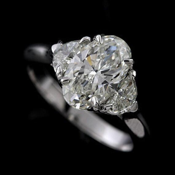 Oval Diamond Modern Style Platinum Engagement Ring Mounting