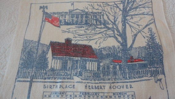 Vintage 1971 Calendar Towel Herbert Hoover Birthplace West Branch Iowa
