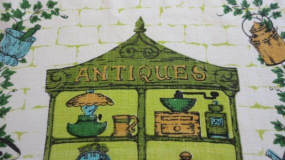 Vintage Linen Towel Antique Shop Theme Green Gold