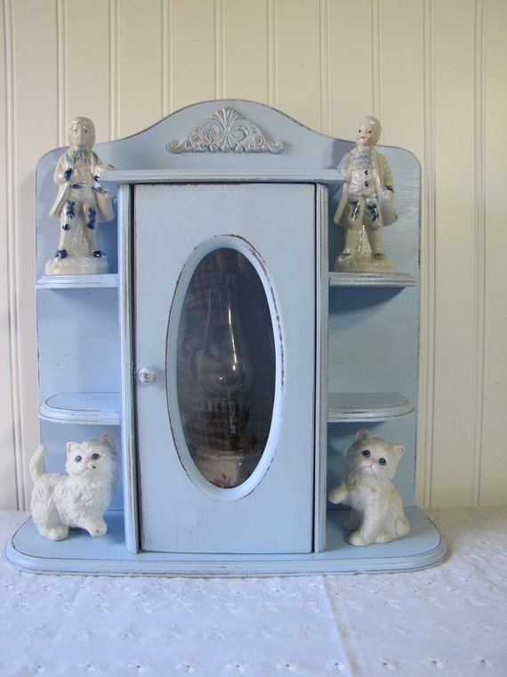 Lil Baby Blue Shabby Chic Cottage Curio clearance sale