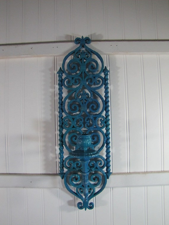 Reserved for Jessica  Vintage Burwood Candle Sconce Turquoise Shabby Chic Boho clearance price