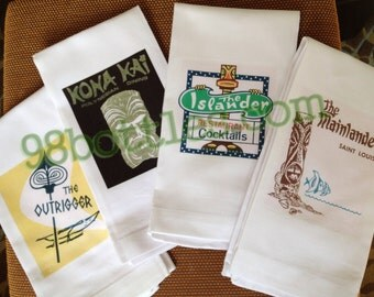 SET OF FOUR Tiki Cocktail Towels - Bar Towels - Tiki Towels with Vintage Retro Matchbook Art