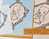 Little Hungry Bear Iron-On Applique - Smallest Bear with White Background