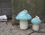 beeswax mushroom candle set - aqua