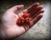 Tiny Trio of Pumkins - Needlefelted Wool Roving