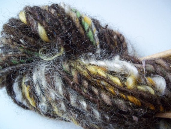 Handspun Art Yarn -  Brownie - hand blended wools with Mohair locks - 48 yards