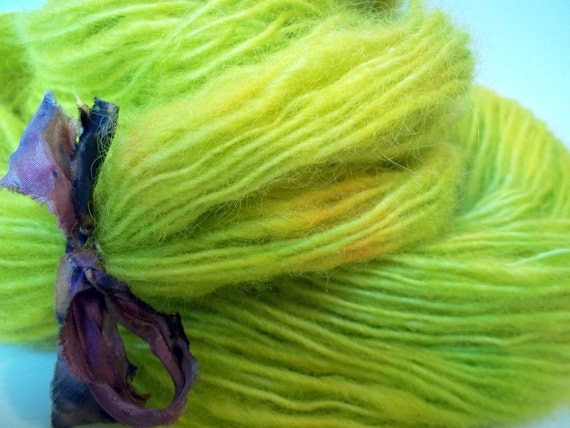 Handspun yarn - Daffodils -  Border Leicester single ply -  130 yards worsted weight hand dyed