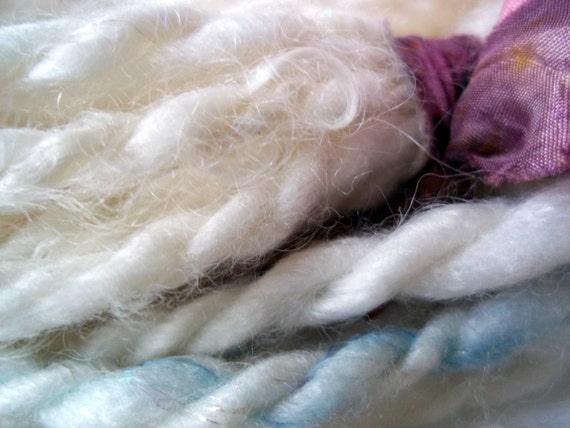 Venom Yarns - Bluebeard's Wedding - milk fiber and merino handspun art yarn -  40 yards 2-ply super bulky - shimmery white
