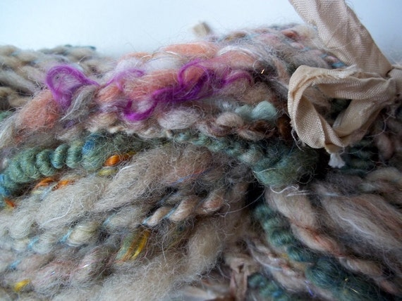 Shores of the Hidden Sea -  handspun art yarn - Romney wool  - 50 yards, 4 oz - eco dyed with black walnut, mint, indigo and onion skins