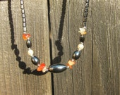 Hematite Necklace With Amber Accents
