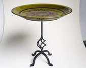 Cupcake Stand & Serving Pedestal -Kahki  Green Ceramic Plate  with black  Print  and a Black Iron Base