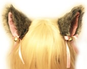 GREY black white mix 9 cm inner pink Kitty Cat Ear FOX WOLF ear Hair Clip Bell set Cosplay Costumes Party