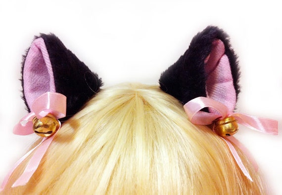 Moe BLACK 2.3 inch inner pink Cat Ear Kitty ear Bell Set Hair Clip Cosplay Costumes Party - Black Friday Cyber Monday weekend