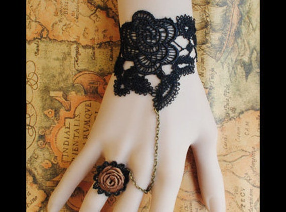 Gothic Victorian Lolita BLACK LACE bracelet flower w chain n orange rose ring Costume Party ,BR1