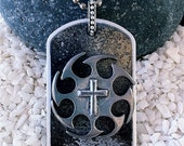 Hand Painted Dog Tag Necklace---Sprocket Cross--- (style TT3003)--FREE SHIPPING--