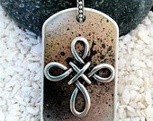 Hand Painted Dog Tag Necklace--- Infinity Cross-- (style TT3011)--FREE SHIPPING