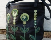 "Hand stittched leather handbag ""Green colors"""