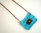 Crochet Blue Necklace, Gift for her under 15