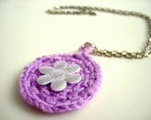 Crochet Lavender Necklace with Flower, Lilac Pendant, Gift under 20 for her for teens for girl friend
