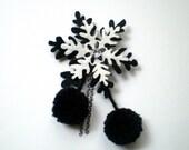 Felt Snowflake Brooch with Pom Pom, Black and White