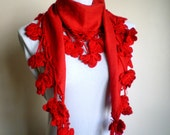 Red Cotton Scarf Women Pashmina Scarf Cowl with Lace Edge Flowers
