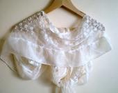 Ivory Lace Veil Chiffon Scarf Bridal Wrap Bridesmaid Scarf  Wrap Shrug Bolero Victorian style