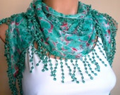 Aqua Green Scarf  Cowl  with Lace Edge Spring Fashion