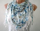 Blue Butterfly Print Chiffon Blue Scarf Shawl Summer Scarf