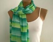 Striped Green Scarf Summer Fashion