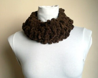 Knit Brown Scarf with Sparkles Neckwarmer Cowl with Pompom Women Fashion