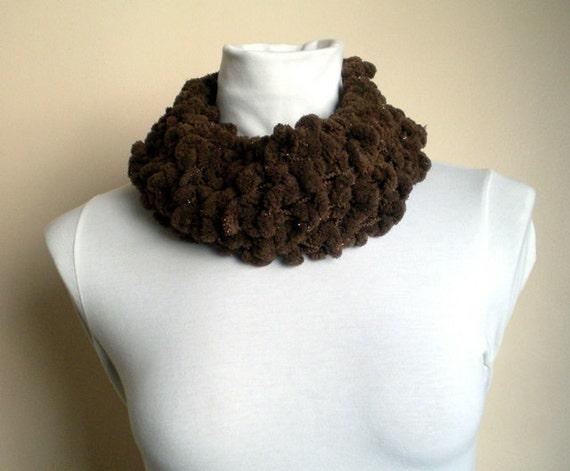 Knit Brown Scarf with Sparkles Neckwarmer Cowl with Pompom Women Fashion