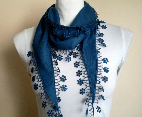 Navy Blue Scarf Pashmina Scarf Cowl with Lace Edge Flowers