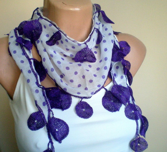 Purple White Polka Dot Scarf  - Cotton Spring Scarf