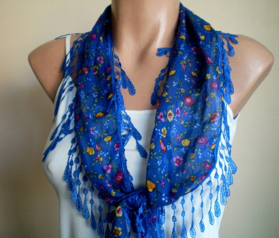 Blue Scarf Flowered Cotton Scarf Lightweight Yemeni Fabric Fringed scarflette