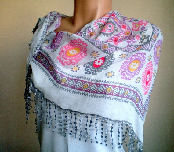 Women Cotton Floral Scarf in Gray Pink Purple Multicolor Frilly Shawl Scarflette Spring Fashion