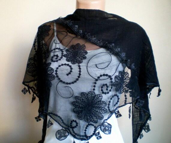 Black Scarf with Lace Black  Shawl Neckwarmer