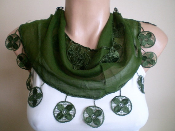 Moss Green Scarf Cotton Scarf Cowl with Lace Edge Women Scarves Spring Fashion