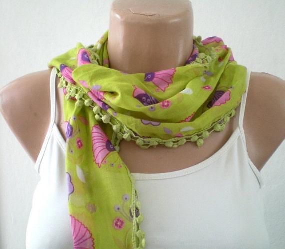 Lime Green Scarf  Flowered Cotton Scarf Lightweight Yemeni Scarflette
