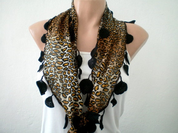 Leopard Scarf  Cotton Brown Scarf with Black Lace