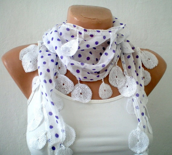 White Purple Polka Dot  Scarf  -  Women Scarves for Spring and Summer -  Gift for mom
