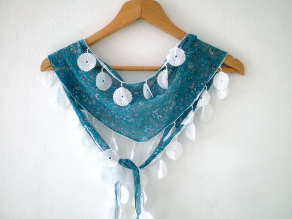 Teal Green Scarf  Floral Cotton Scarf Lightweight Yemeni Scarflette Summer Fashion
