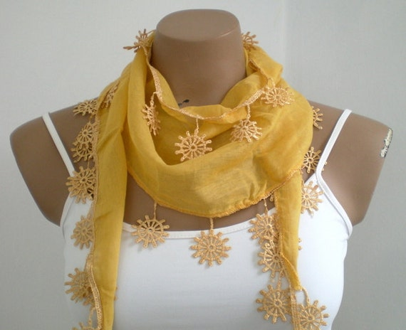 Mustard Yellow Cotton Scarf with Lace Summer Scarf Women Scarves