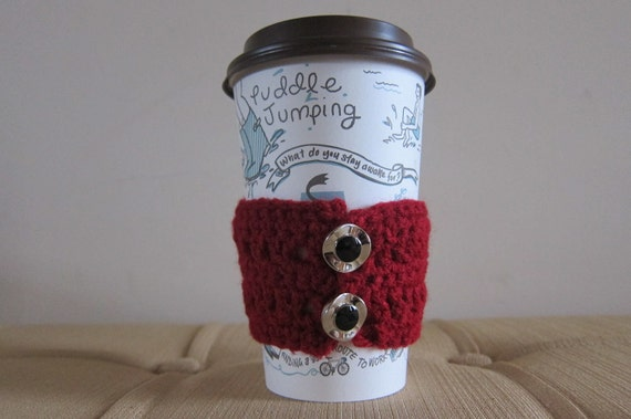 Red Crocheted Coffee Cozy with Silver Buttons, Coffee Cozies, Crocheted Cozy Sale, Stocking Stuffer