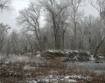 Neuse River Snow Graphic - Fine Art Print - Color Enhanced - 8x10