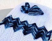 Crocheted Baby afghan WHITE with Blue variegated yarn.  Matching hat & booties
