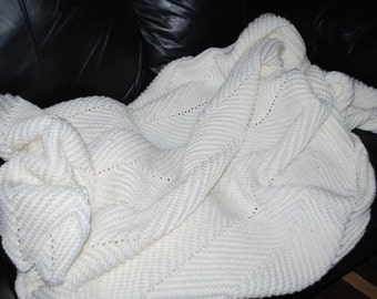 Crocheted Large Soft White Ripple Afghan