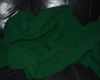 Crocheted Large Hunter Green Ripple Afghan