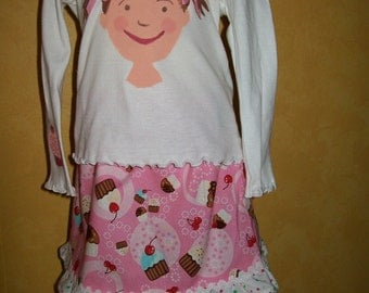 Hand Painted Pinkalicious Shirt and Cupcake Skirt -Pinkalicious Birthday Outfit -  Size 24 months - One Of A Kind Pinkalicious Outfit