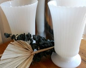 E.O. Brody Twin Ribbed Milk Glass Vases